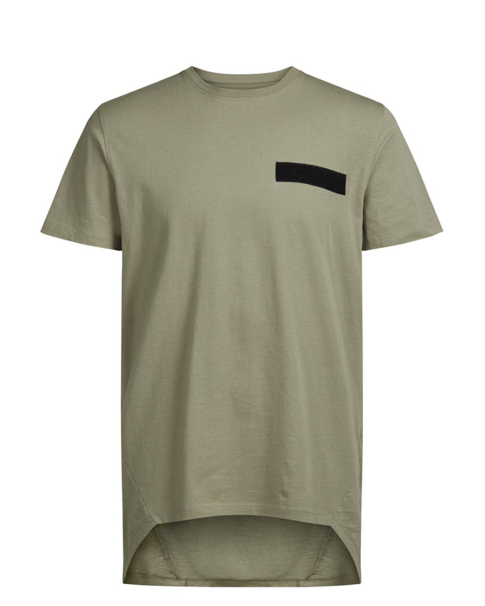 HIGH-LOW VELCRO DETAIL T-SHIRT SILVER SAGE