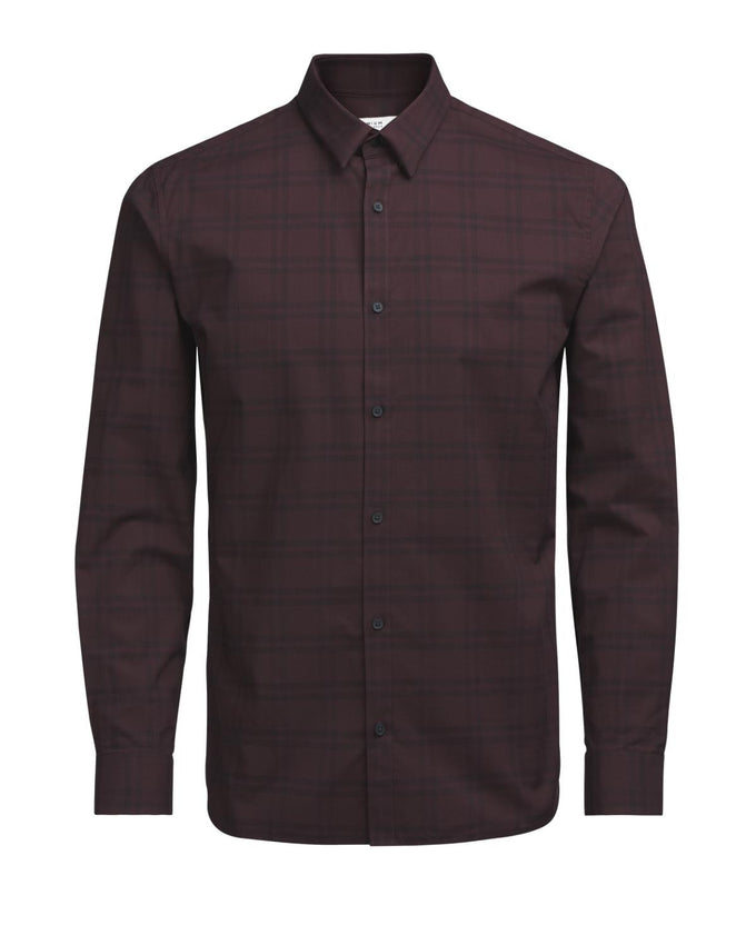 COMFORT FIT CHECKERED DRESS SHIRT FUDGE