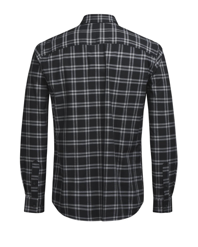 COMFORT FIT CHECKERED DRESS SHIRT BLACK
