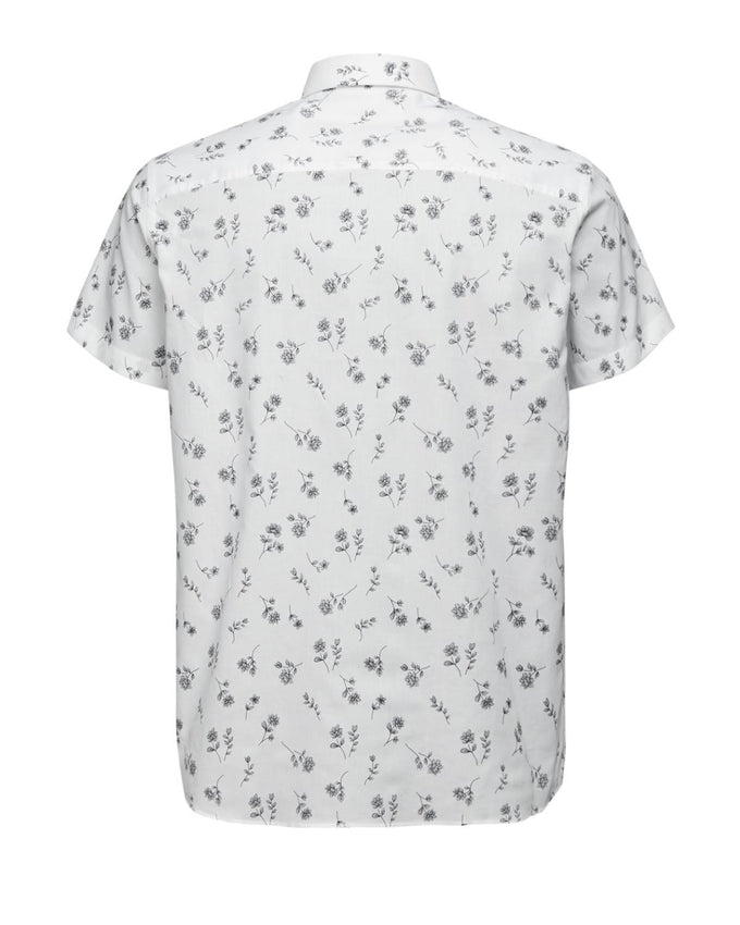FLOWER PRINT SHORT SLEEVE SHIRT WHITE