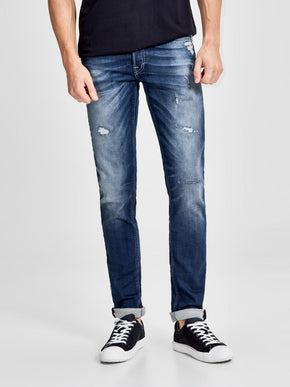 GLENN 118 INDIGO KNIT STRETCH SLIM FIT JEANS