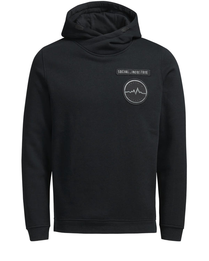 HOODIE WITH EMBROIDERED BADGES BLACK