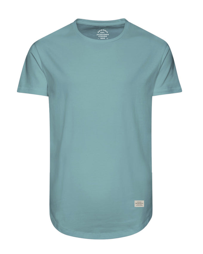T-SHIRT LONG À OURLET ARRONDI CIEL AQUA