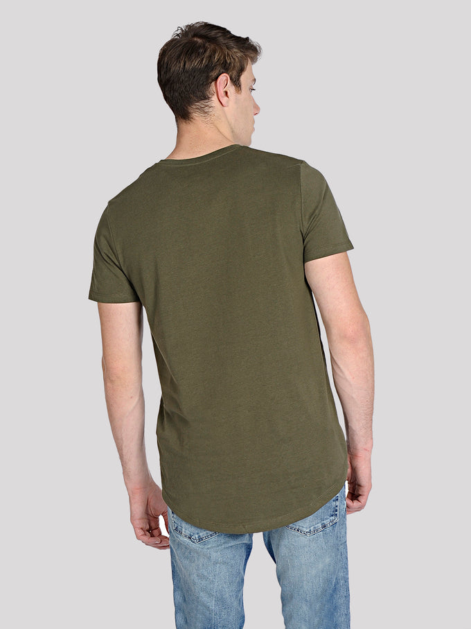 LONG CURVED T-SHIRT FOREST NIGHT