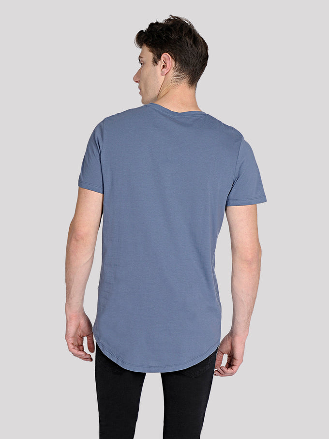 LONG CURVED T-SHIRT VINTAGE INDIGO