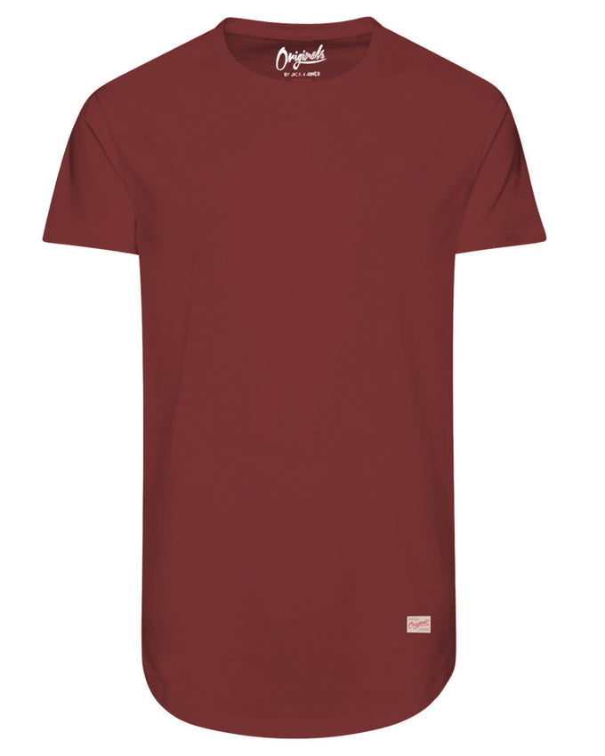 T-SHIRT LONG À OURLET ARRONDI ROUGE POMME
