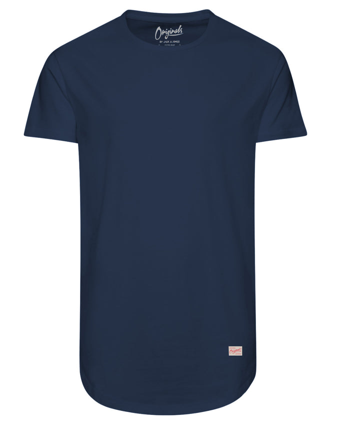 LONG CURVED T-SHIRT ESTATE BLUE