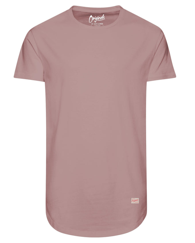 LONG CURVED T-SHIRT SILVER PINK