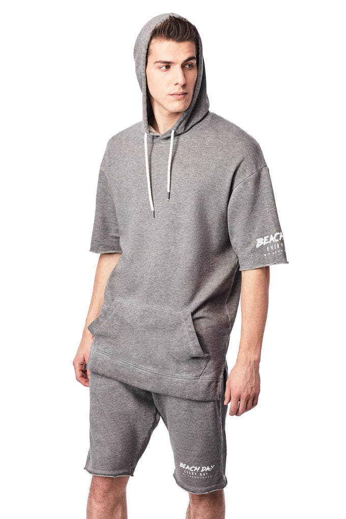 BEACH DAY EVERY DAY LONG FIT HOODIE LIGHT GREY MELANGE
