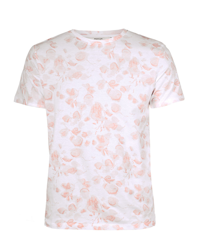 ALL-OVER FLORAL PRINT T-SHIRT WHITE/PEACH
