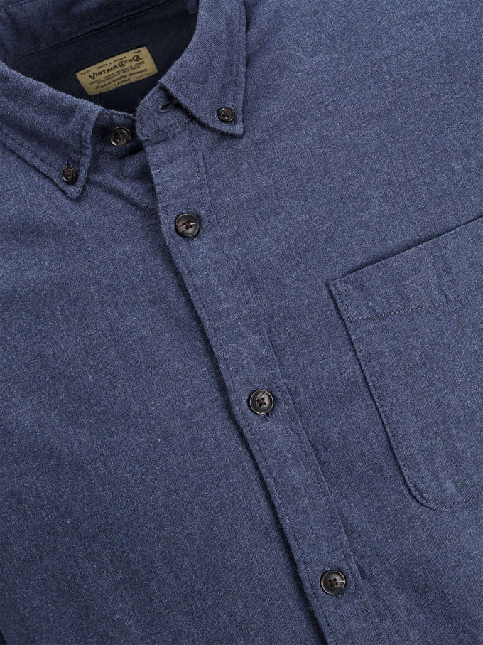 COMFORT FIT BRUSHED COTTON SHIRT BLUE NIGHTS