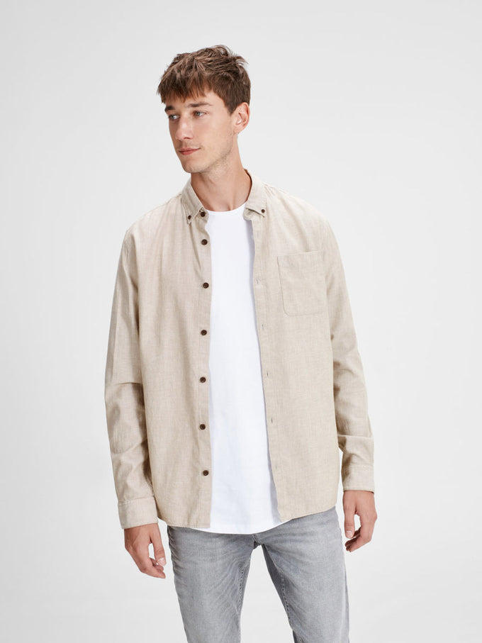 COMFORT FIT BRUSHED COTTON SHIRT OATMEAL
