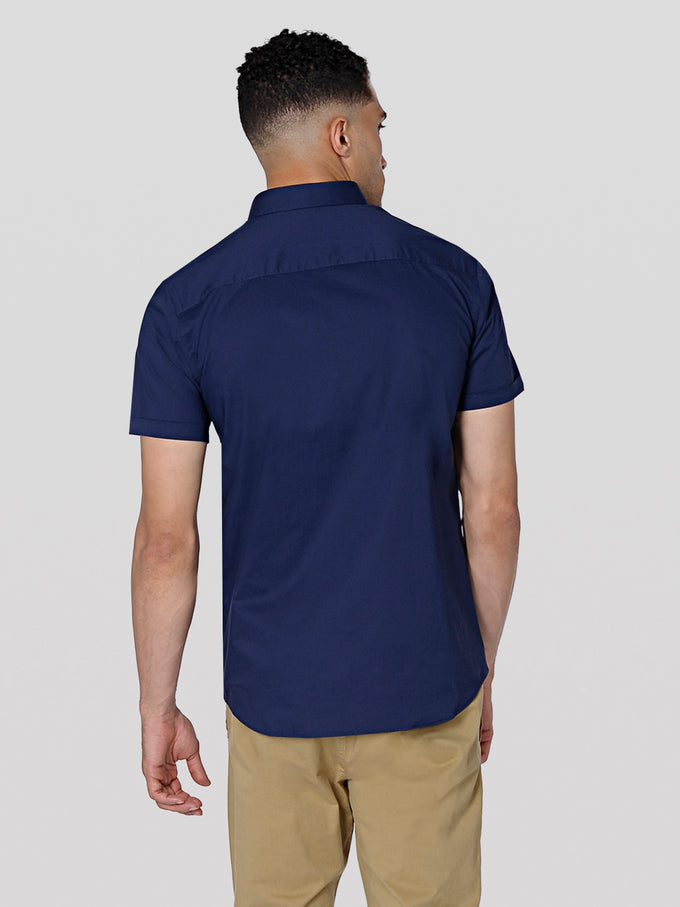BASIC SLIM FIT SHORT-SLEEVE SHIRT NAVY BLAZER