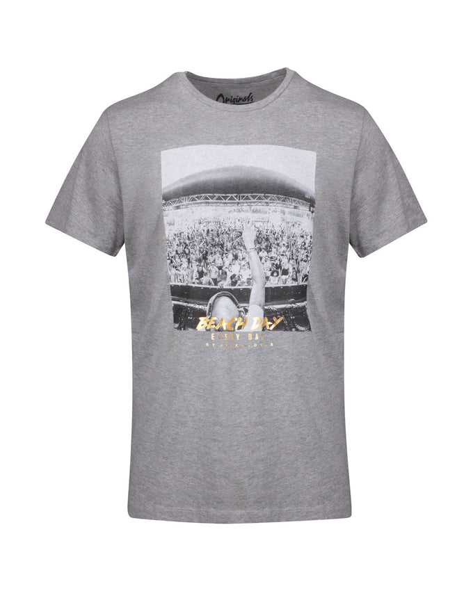 BEACH DAY EVERY DAY PHOTO PRINT T-SHIRT LIGHT GREY MELANGE