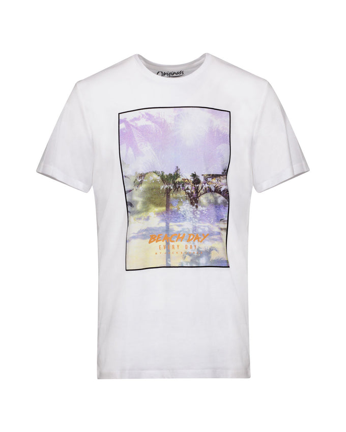 BEACH DAY EVERY DAY PHOTO PRINT T-SHIRT CLOUD DANCER