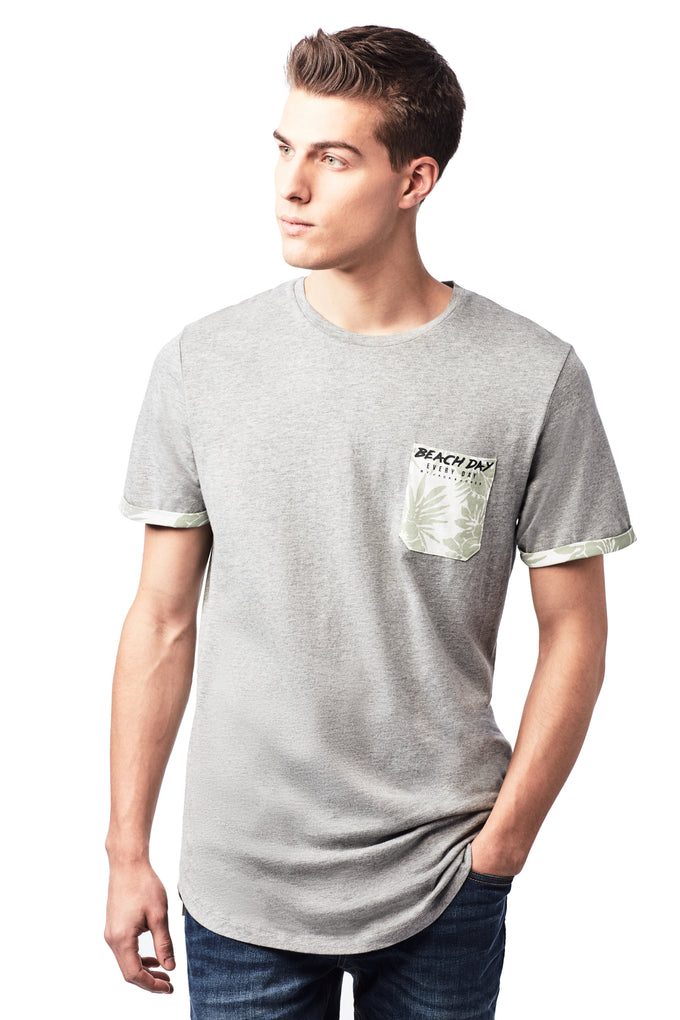 BEACH DAY EVERY DAY POCKET DETAIL T-SHIRT LIGHT GREY MELANGE
