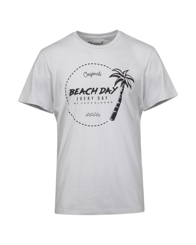 BEACH DAY EVERY DAY PALM PRINT T-SHIRT MIRAGE GREY