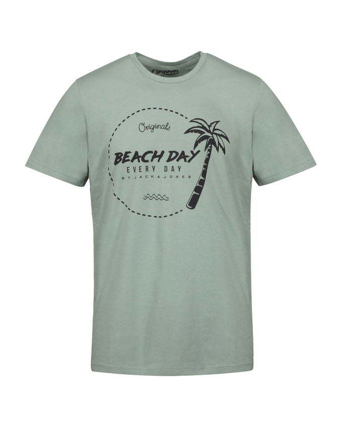 BEACH DAY EVERY DAY PALM PRINT T-SHIRT LILY PAD