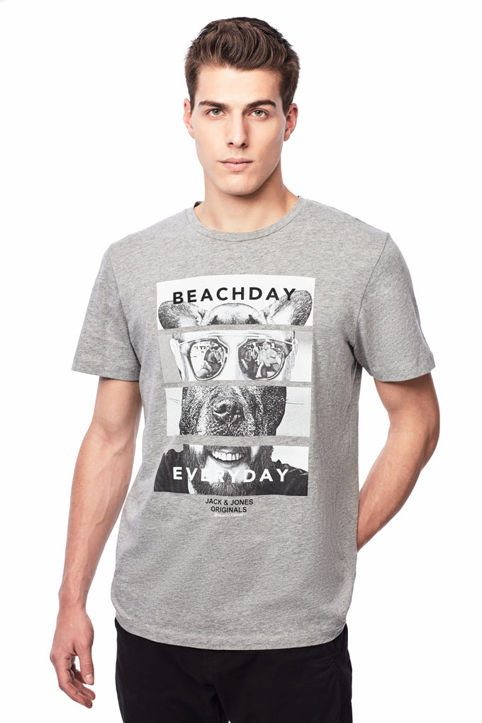 BEACH DAY EVERY DAY GRAPHIC PRINT T-SHIRT LIGHT GREY MELANGE