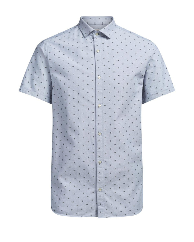 FLARED COLLAR SHORT SLEEVE SHIRT GREY MELANGE