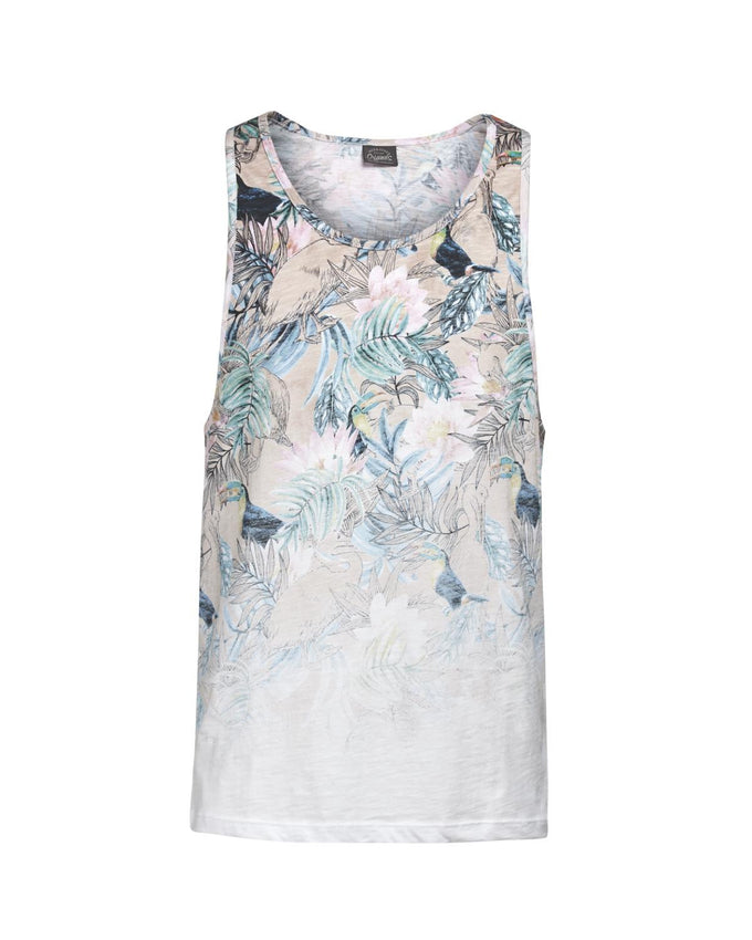 ALL-OVER TROPICAL PRINT TANK TOP WHITE