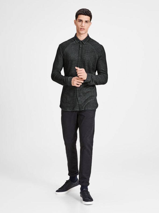 JACQUARD PATTERN CORE SHIRT BLACK