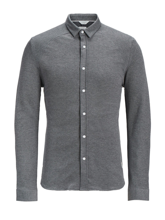 JACQUARD PATTERN CORE SHIRT GREY MELANGE