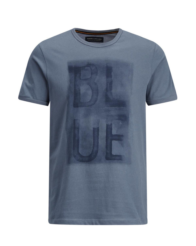 EXTRA SOFT BLUE PRINT T-SHIRT CHINA BLUE