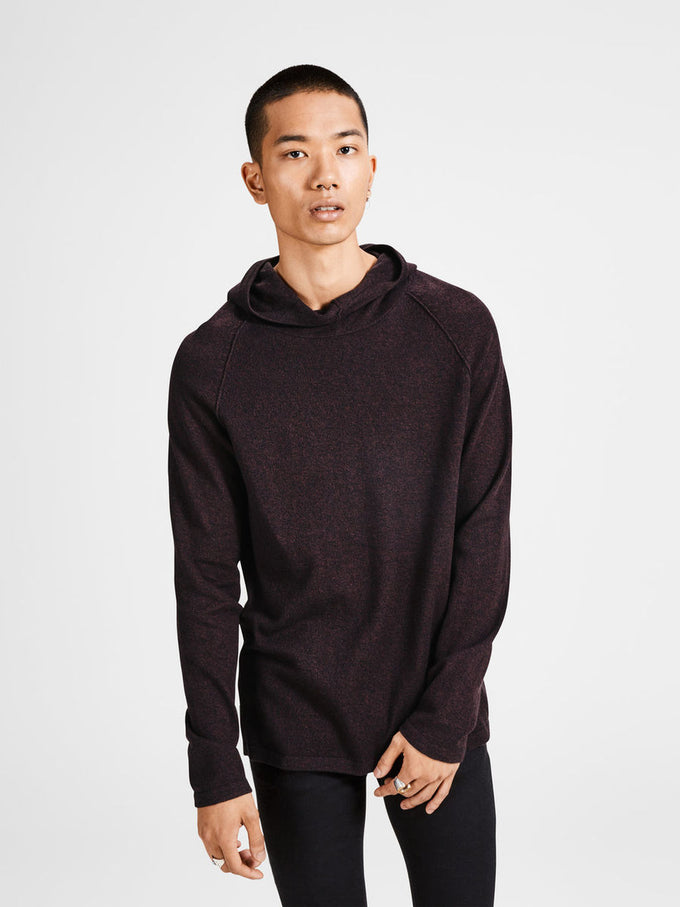 HIGH-NECK KNIT HOODIE SASSAFRAS