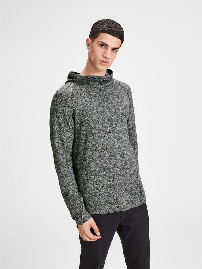 HIGH-NECK KNIT HOODIE SILVER BIRCH