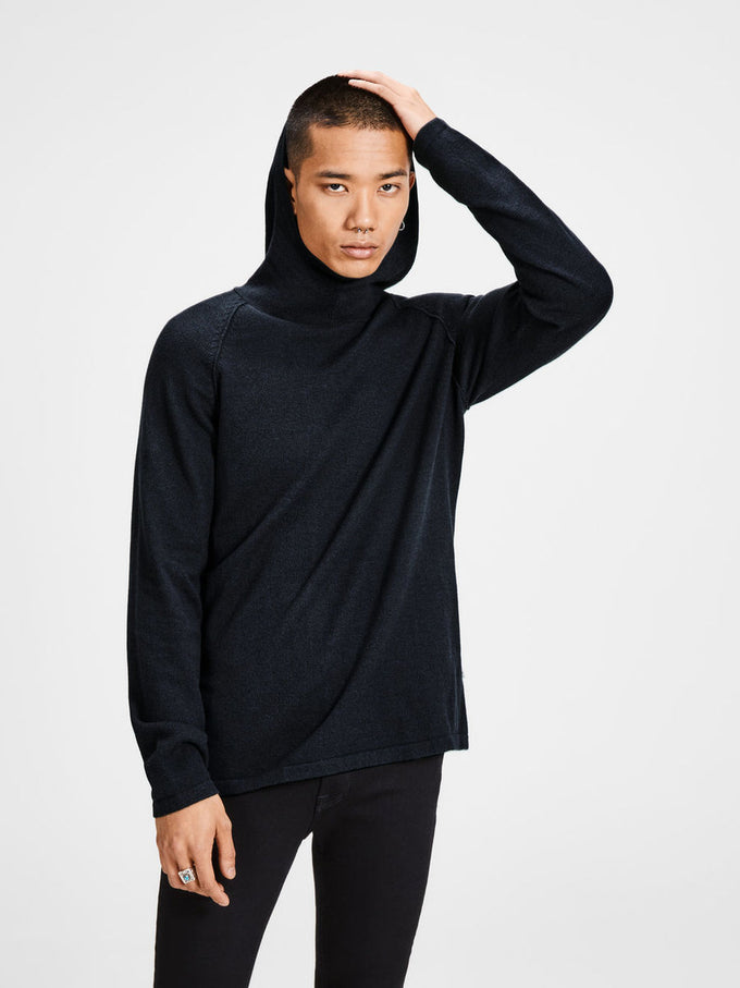 HIGH-NECK KNIT HOODIE TAP SHOE