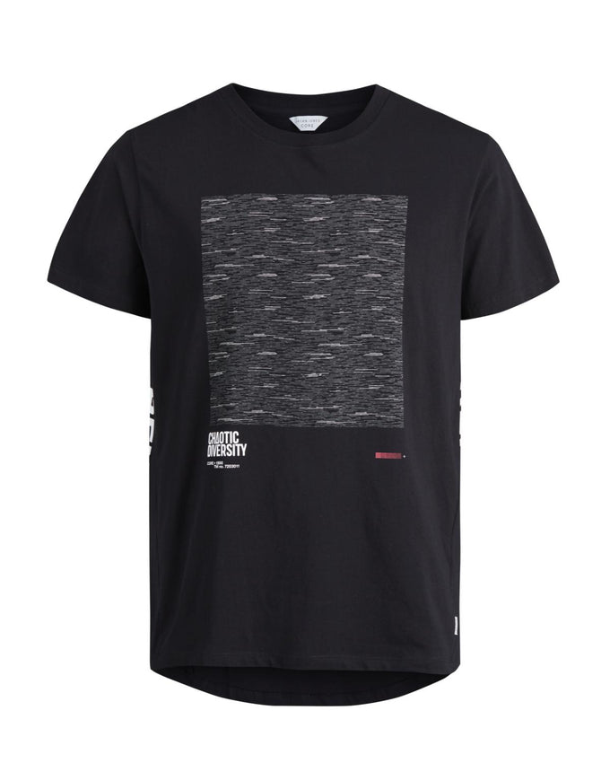 HIGH-LOW PRINTED T-SHIRT WITH CURVED BACK BLACK