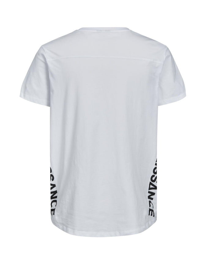 HIGH-LOW PRINTED T-SHIRT WITH CURVED BACK WHITE
