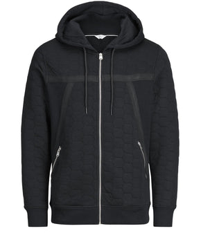 ZIP-UP HOODIE WITH QUILTED DETAILS