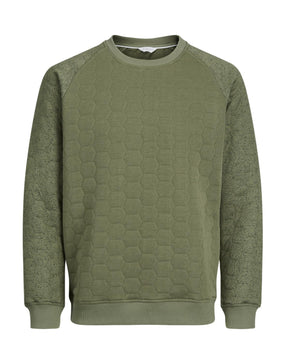 QUILTED SWEATSHIRT WITH SPECKLED SLEEVES