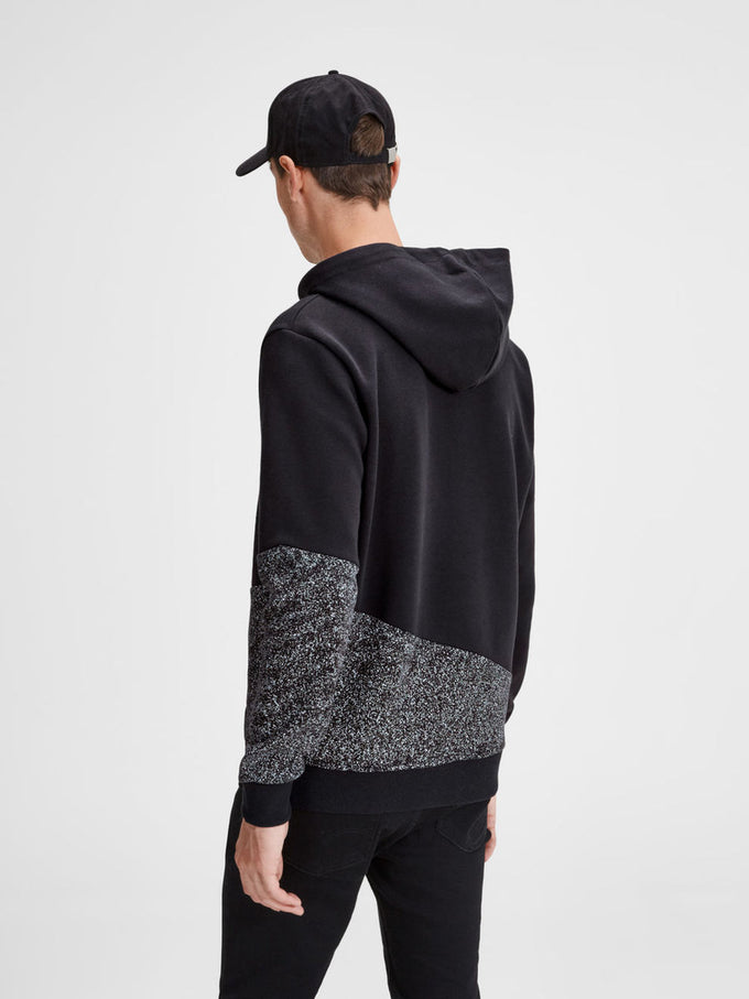 SPECKLED HOODIE WITH CONTRAST HOOD BLACK