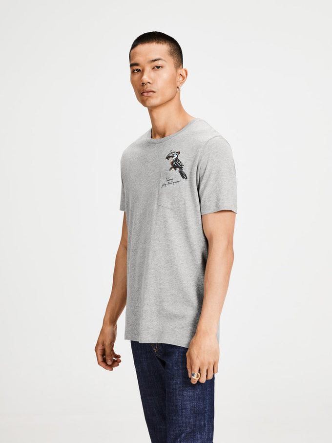 FUNNY ORIGINALS POCKET T-SHIRT LIGHT GREY MELANGE