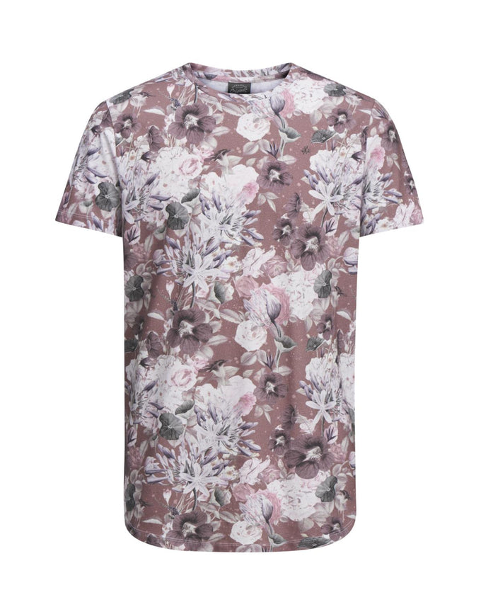 FLOWER PRINT LONG FIT T-SHIRT ROSE TAUPE