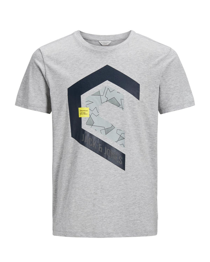 CORE GEOMETRIC PRINT T-SHIRT LIGHT GREY MELANGE