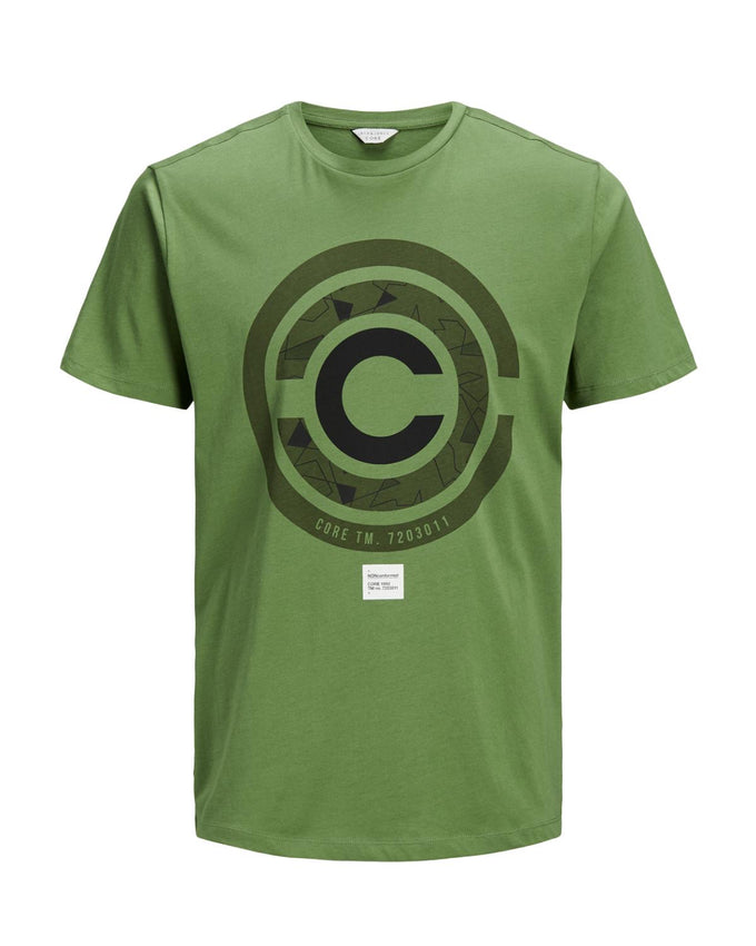CORE GEOMETRIC PRINT T-SHIRT VINEYARD GREEN