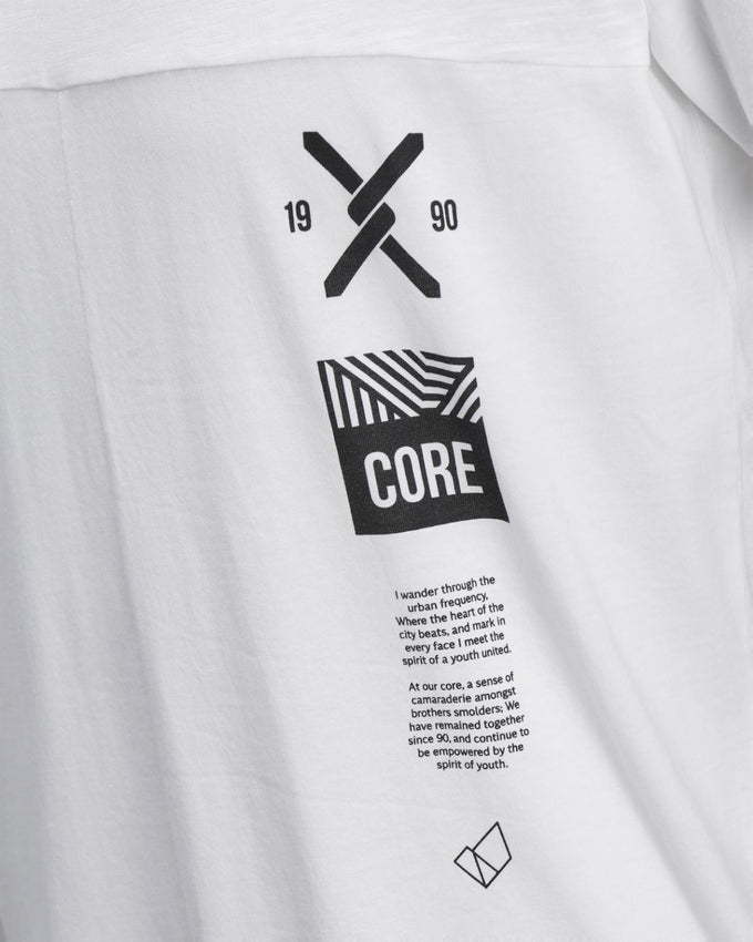CORE PRINT T-SHIRT WITH STITCH DETAILS WHITE