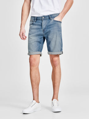INDIGO KNIT STRETCH BLEACHED DENIM SHORTS