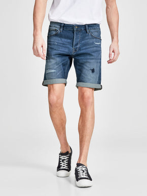 INDIGO KNIT STRETCH USED DENIM SHORTS