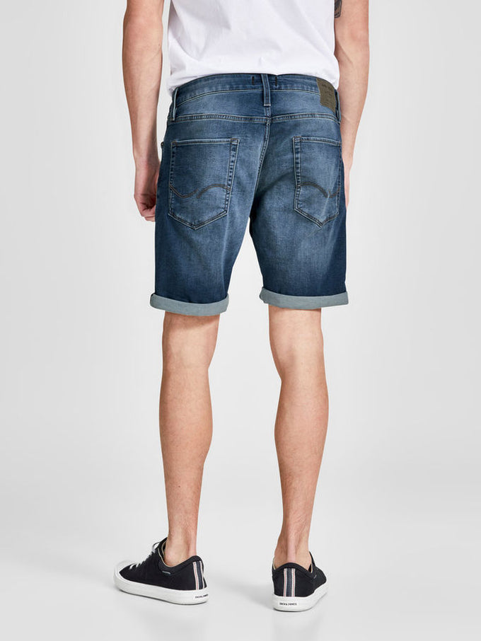 INDIGO KNIT STRETCH USED DENIM SHORTS BLUE DENIM