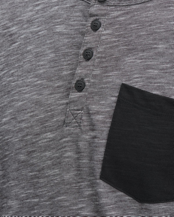 HEATHERED HENLEY T-SHIRT DARK GREY MELANGE