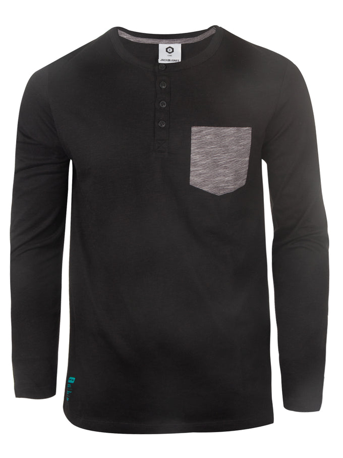 HEATHERED HENLEY T-SHIRT BLACK