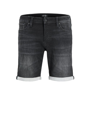 INDIGO KNIT STRETCH BLACK DENIM SHORTS