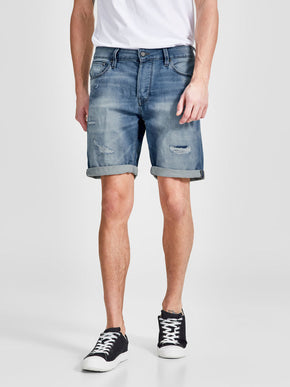 INDIGO KNIT STRETCH DENIM SHORTS