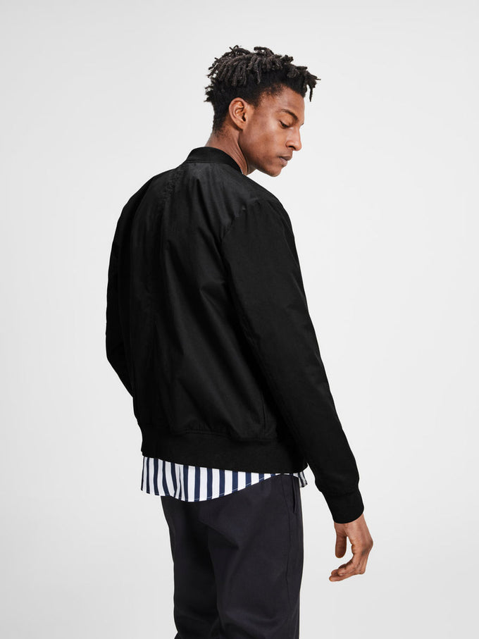 COTTON BOMBER JACKET BLACK