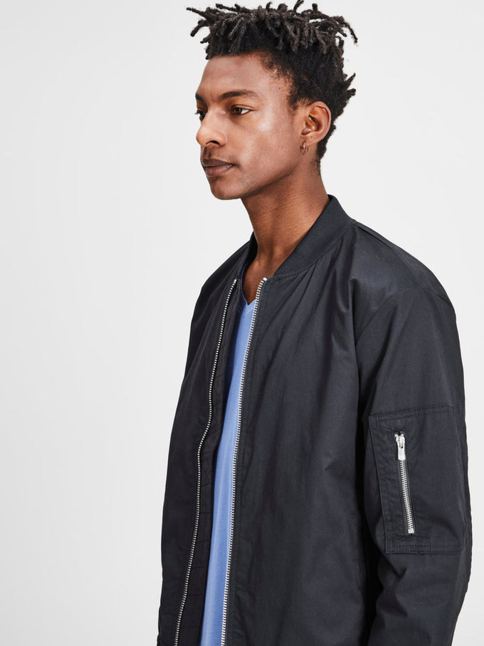COTTON BOMBER JACKET DARK NAVY